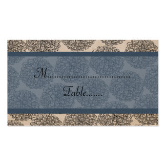 Vintage Zinnia Place Card, Blue Double-Sided Standard Business Cards (Pack Of 100)