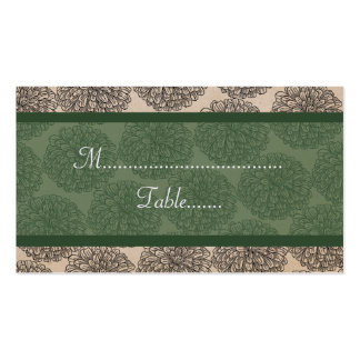 Vintage Zinnia Place Card, Green Double-Sided Standard Business Cards (Pack Of 100)