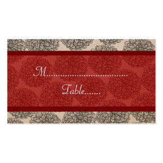 Vintage Zinnia Place Card, Red Double-Sided Standard Business Cards (Pack Of 100)