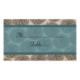 Vintage Zinnia Place Card, Teal Double-Sided Standard Business Cards (Pack Of 100)