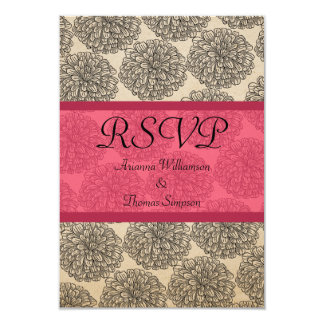 "Vintage Zinnia Response Card, Pink 3.5"" X 5"" Invitation Card"