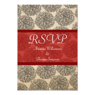 Vintage Zinnia Response Card, Red Custom Announcements