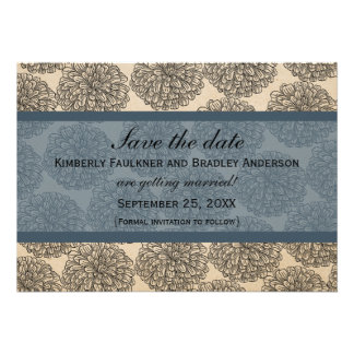Vintage Zinnia Save the Date Invite Blue