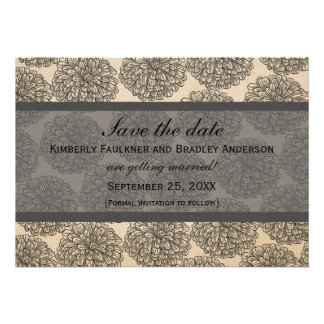 Vintage Zinnia Save the Date Invite Gray