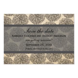 "Vintage Zinnia Save the Date Invite, Gray 5"" X 7"" Invitation Card"