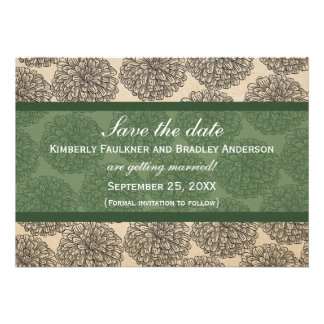 Vintage Zinnia Save the Date Invite Green