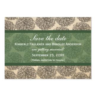 "Vintage Zinnia Save the Date Invite, Green 5"" X 7"" Invitation Card"