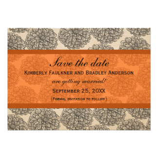 Vintage Zinnia Save the Date Invite Orange