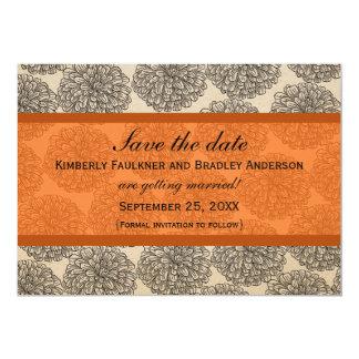 "Vintage Zinnia Save the Date Invite, Orange 5"" X 7"" Invitation Card"