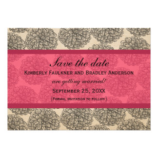 Vintage Zinnia Save the Date Invite Pink