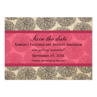 Vintage Zinnia Save the Date Invite, Pink