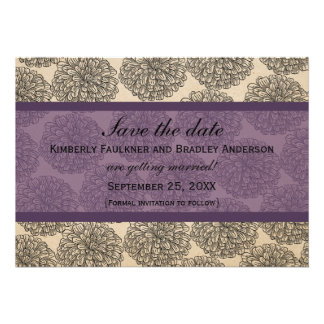 Vintage Zinnia Save the Date Invite Purple
