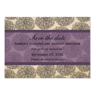 "Vintage Zinnia Save the Date Invite, Purple 5"" X 7"" Invitation Card"