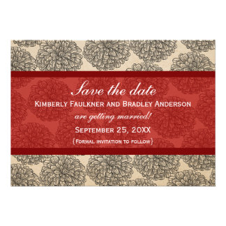 Vintage Zinnia Save the Date Invite Red