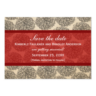 """Vintage Zinnia Save the Date Invite, Red 5"""" X 7"""" Invitation Card"""