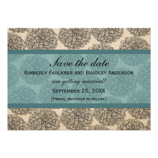 Vintage Zinnia Save the Date Invite Teal