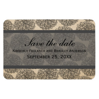 Vintage Zinnia Save the Date Magnet, Gray