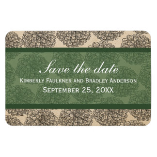 Vintage Zinnia Save the Date Magnet Green