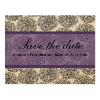 Vintage Zinnia Save the Date Postcard, Purple