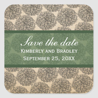 Vintage Zinnia Save the Date Stickers, Green
