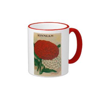 vintage zinnia seed packet mug
