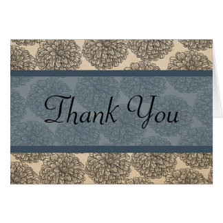 Vintage Zinnia Thank You Card Blue