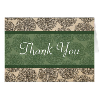 Vintage Zinnia Thank You Card Green