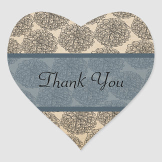 Vintage Zinnia Thank You Stickers, Blue
