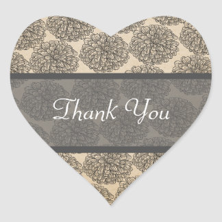 Vintage Zinnia Thank You Stickers Gray