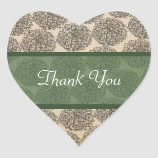 Vintage Zinnia Thank You Stickers Green
