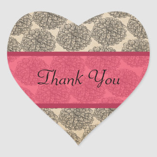 Vintage Zinnia Thank You Stickers, Pink