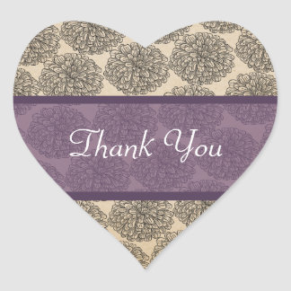 Vintage Zinnia Thank You Stickers Purple