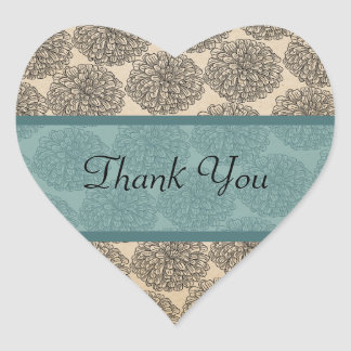 Vintage Zinnia Thank You Stickers, Teal