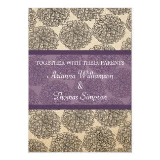 """Vintage Zinnia Wedding Invite, Purple 5"""" X 7"""" Invitation Card"""