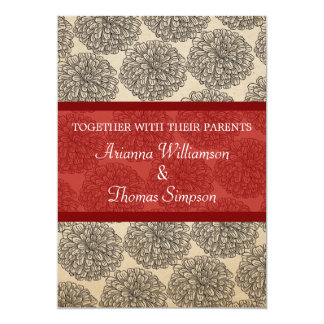 Vintage Zinnia Wedding Invite, Red