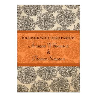 "Vintage Zinnia Wedding Invite, Tangerine 5"" X 7"" Invitation Card"