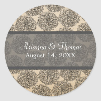 Vintage Zinnia Wedding Stickers Gray