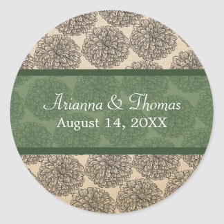Vintage Zinnia Wedding Stickers Green