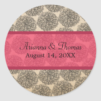 Vintage Zinnia Wedding Stickers, Pink