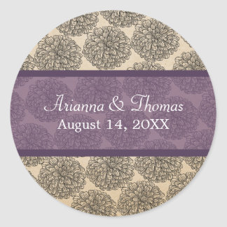 Vintage Zinnia Wedding Stickers Purple