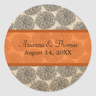 Vintage Zinnia Wedding Stickers Tangerine