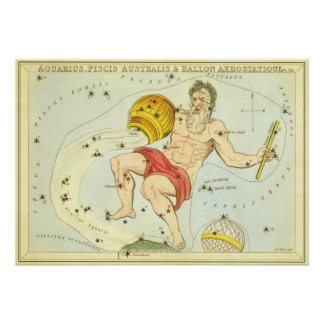 Vintage Zodiac, Astrology Aquarius Constellation Poster