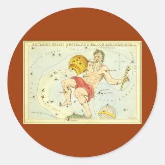 Vintage Zodiac, Astrology Aquarius Constellation Round Sticker