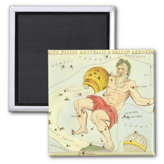 Vintage Zodiac, Astrology Aquarius Constellation Square Magnet