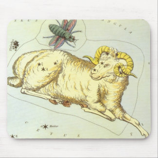 Vintage Zodiac, Astrology Aries Ram Constellation Mouse Mat