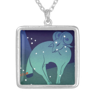 Vintage Zodiac, Astrology Aries Ram Constellation Silver Plated Necklace