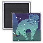 Vintage Zodiac, Astrology Aries Ram Constellation Square Magnet