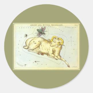 Vintage Zodiac, Astrology Aries Ram Constellation Round Stickers