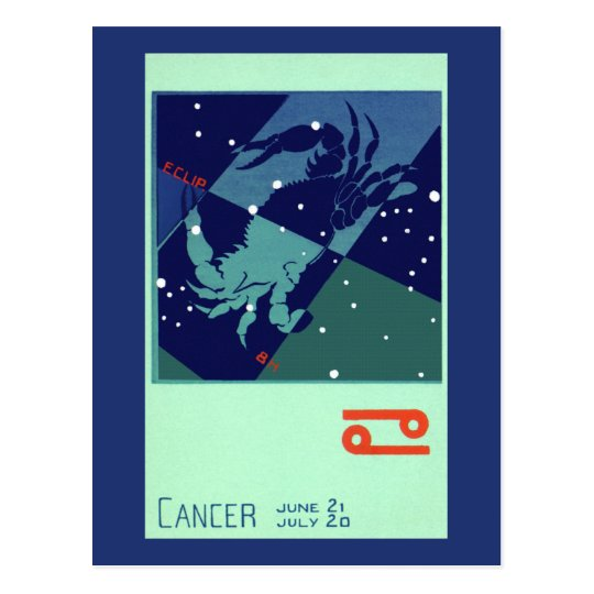 Vintage Zodiac Astrology Cancer Crab Constellation Postcard