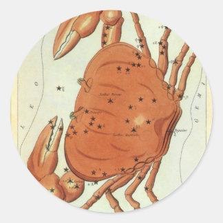 Vintage Zodiac Astrology Cancer Crab Constellation Round Sticker